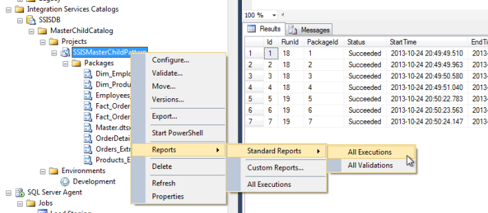 SSIS All Executions Report context menu