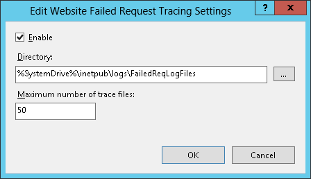 Enable failed request tracing in IIS8