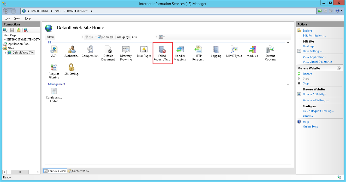 Failed tracing request button in IIS8