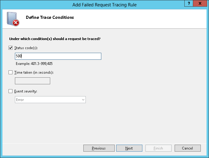 New failed request trace rule - define conditions