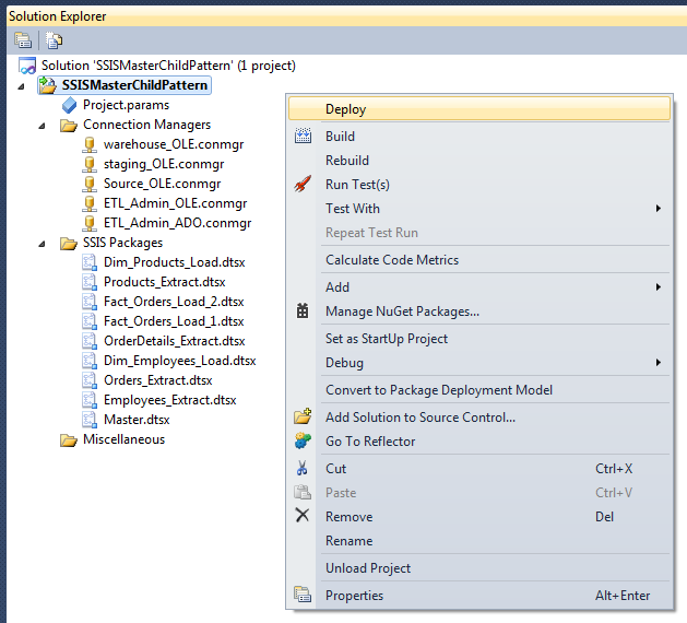 Right click deployment with Sql Server data tools