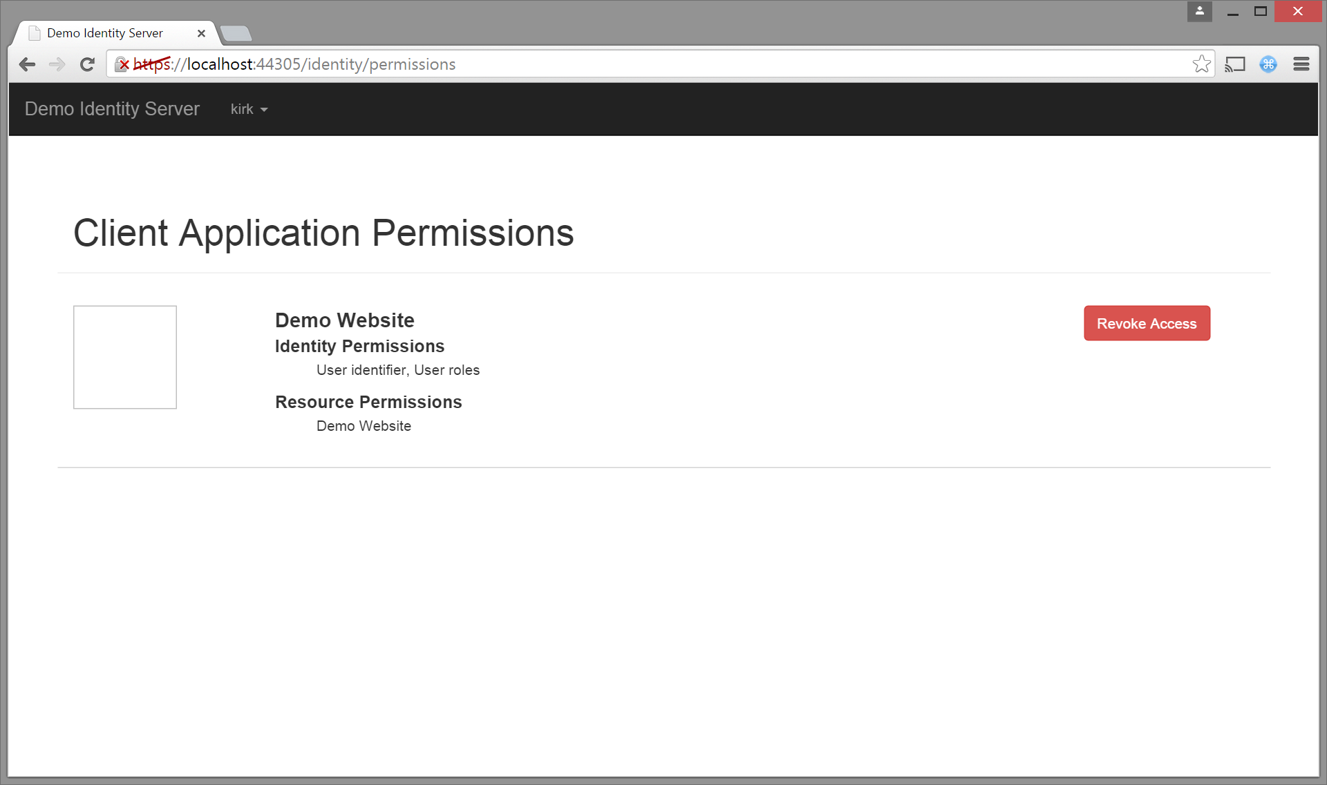 Identity Server permissions view