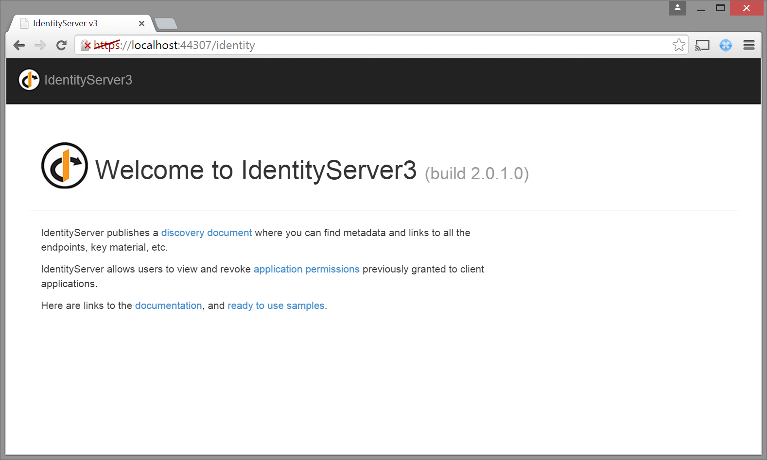 Identity Server home page
